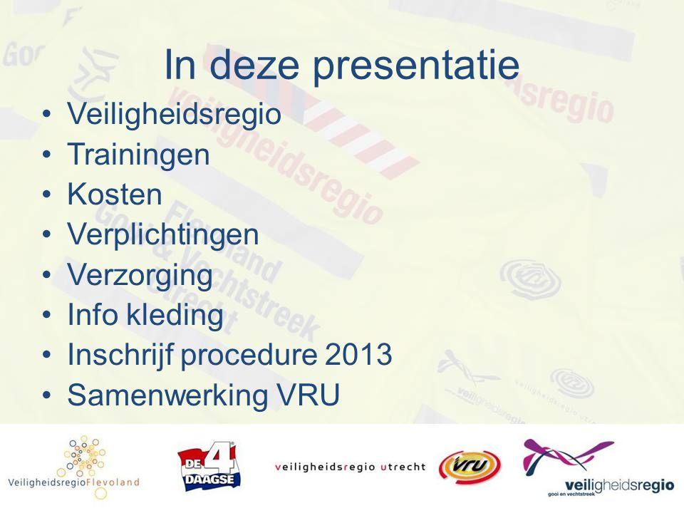 In deze presentatie Veiligheidsregio Trainingen Kosten Verplichtingen Verzorging Info kleding Inschrijf procedure 2013 Samenwerking VRU
