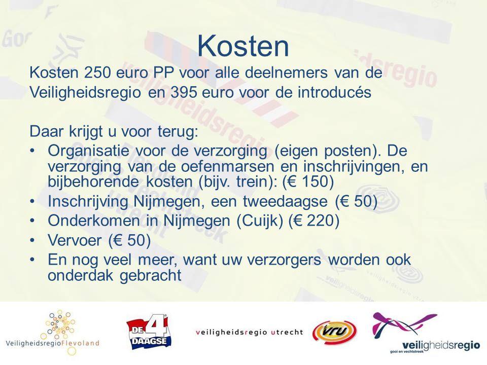 Kosten Kosten 250 euro PP voor alle deelnemers van de Veiligheidsregio en 395 euro voor de introducés Daar krijgt u voor terug: Organisatie voor de verzorging (eigen posten).