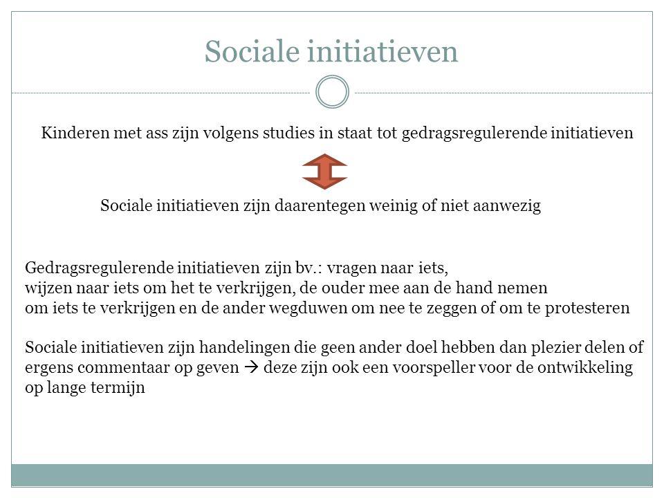 Sociale initiatieven Kinderen met ass zijn volgens studies in staat tot gedragsregulerende initiatieven Sociale initiatieven zijn daarentegen weinig o