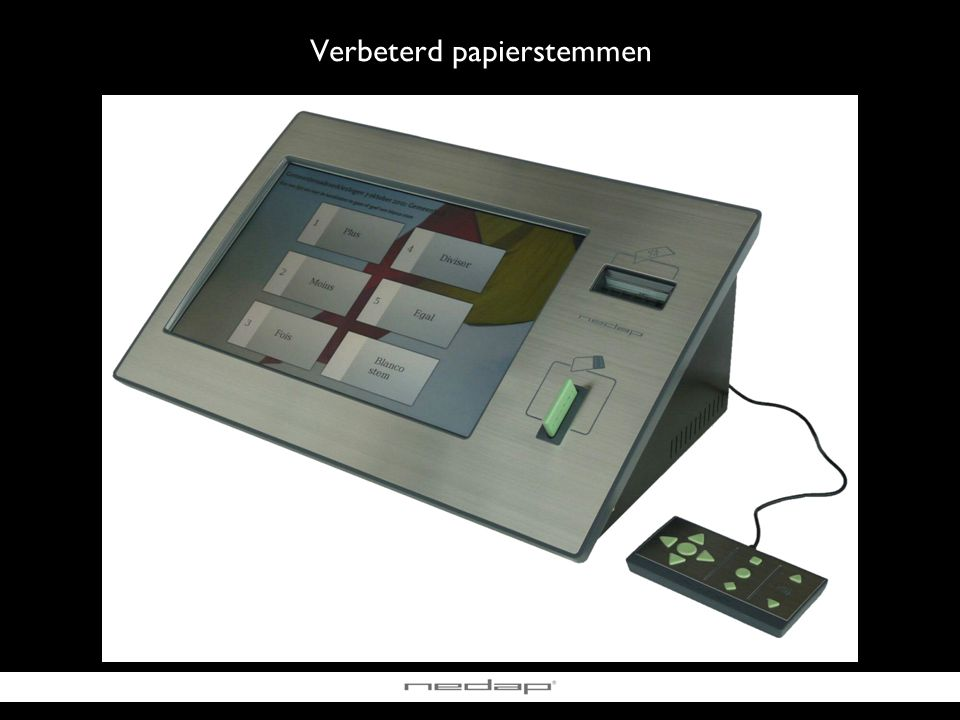 Vrijgave stemmenprinter Kiezen & bevestigen Verbeterd papierstemmen Stemafdruk verifiëren & in stemomslag steken