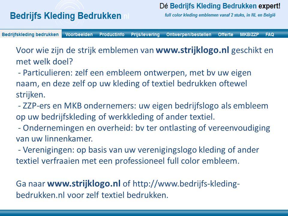 Voor wie zijn de strijk emblemen van www.strijklogo.nl geschikt en met welk doel.