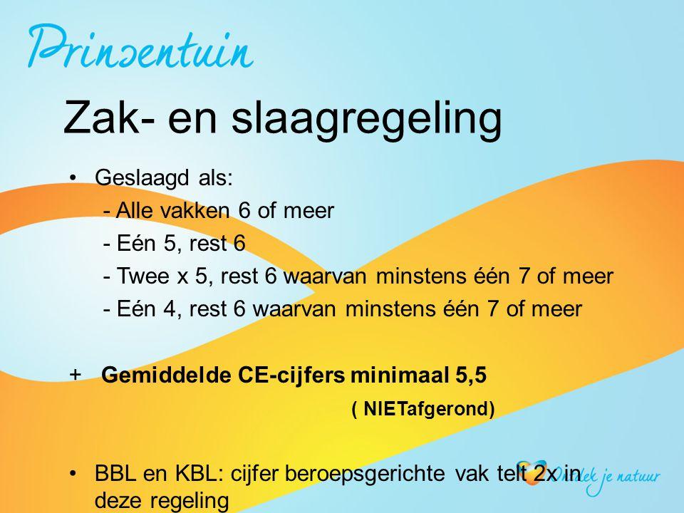 Zak- en slaagregeling Geslaagd als: - Alle vakken 6 of meer - Eén 5, rest 6 - Twee x 5, rest 6 waarvan minstens één 7 of meer - Eén 4, rest 6 waarvan minstens één 7 of meer + Gemiddelde CE-cijfers minimaal 5,5 ( NIETafgerond) BBL en KBL: cijfer beroepsgerichte vak telt 2x in deze regeling LWT: Nederlands + beroepsgericht vak voldoende