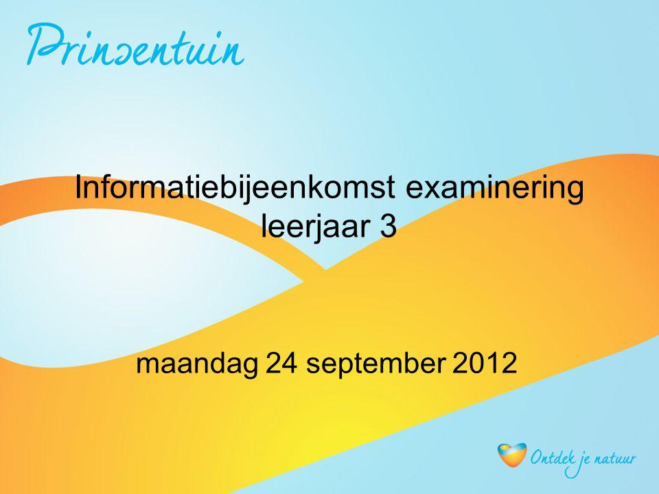 Informatiebijeenkomst examinering leerjaar 3 maandag 24 september 2012