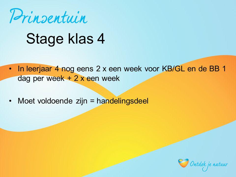Stage klas 4 In leerjaar 4 nog eens 2 x een week voor KB/GL en de BB 1 dag per week + 2 x een week Moet voldoende zijn = handelingsdeel