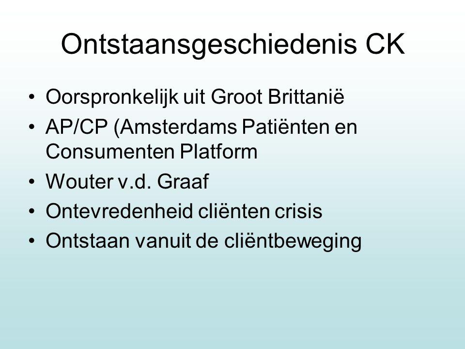 Ontstaansgeschiedenis CK Oorspronkelijk uit Groot Brittanië AP/CP (Amsterdams Patiënten en Consumenten Platform Wouter v.d. Graaf Ontevredenheid cliën