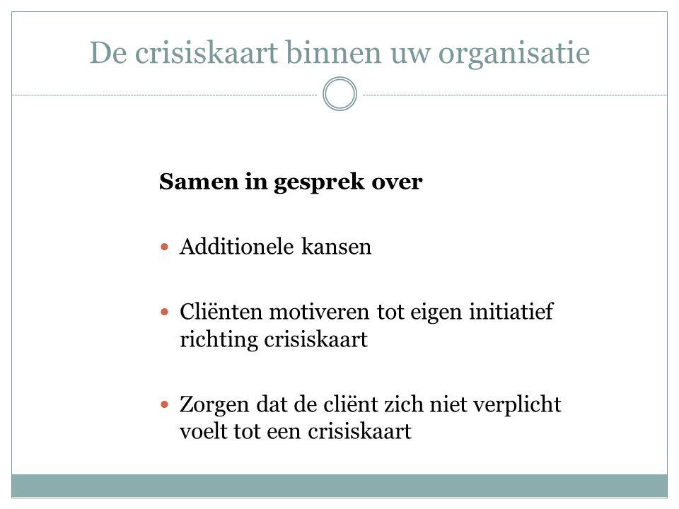 De crisiskaart binnen uw organisatie Samen in gesprek over Additionele kansen Cliënten motiveren tot eigen initiatief richting crisiskaart Zorgen dat