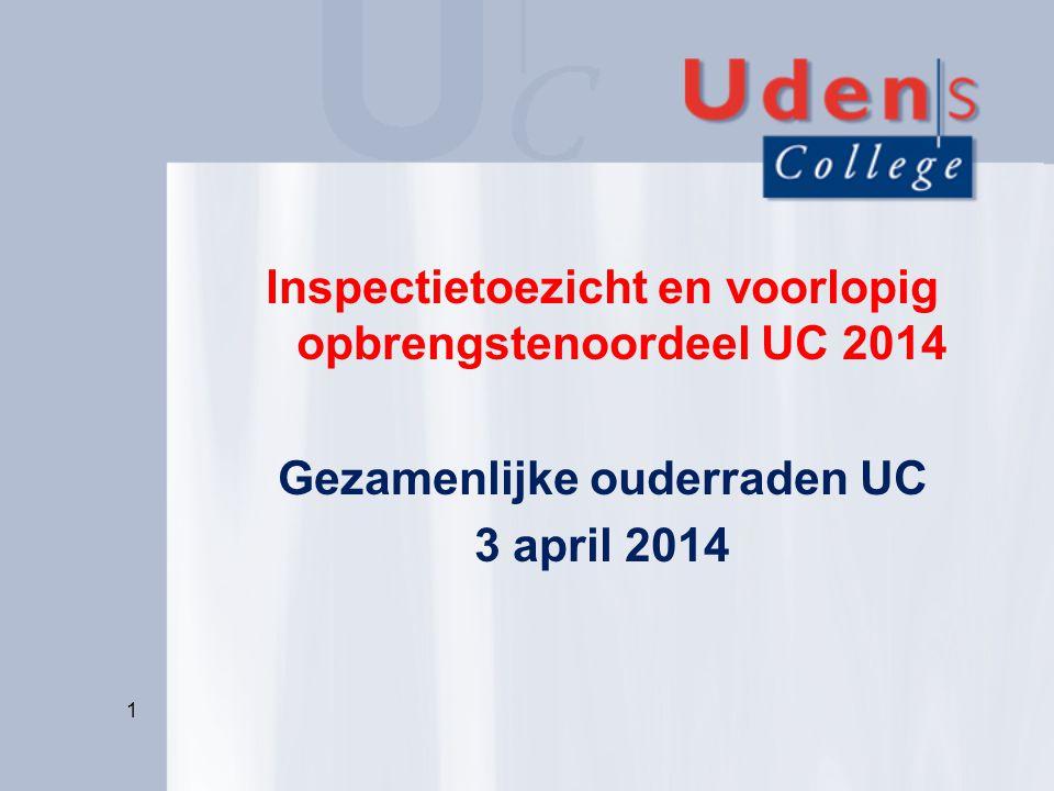 Inspectietoezicht en voorlopig opbrengstenoordeel UC 2014 Gezamenlijke ouderraden UC 3 april 2014 1