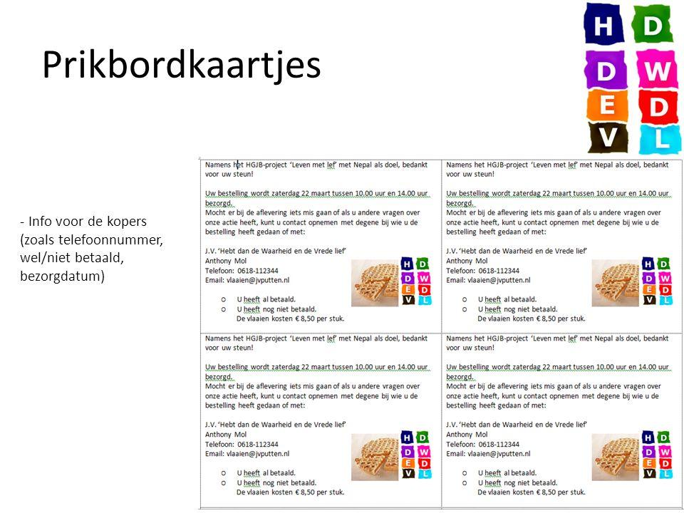 Prikbordkaartjes - Info voor de kopers (zoals telefoonnummer, wel/niet betaald, bezorgdatum)