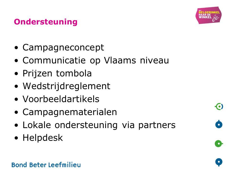 Ondersteuning Campagneconcept Communicatie op Vlaams niveau Prijzen tombola Wedstrijdreglement Voorbeeldartikels Campagnematerialen Lokale ondersteuning via partners Helpdesk