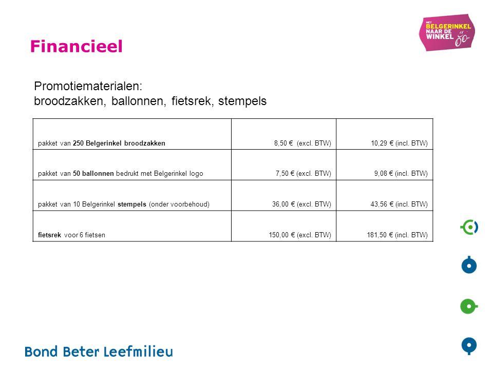 Financieel Promotiematerialen: broodzakken, ballonnen, fietsrek, stempels pakket van 250 Belgerinkel broodzakken8,50 € (excl. BTW)10,29 € (incl. BTW)