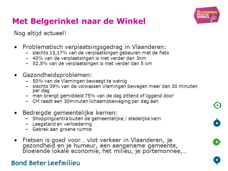 Met Belgerinkel naar de Winkel Nog altijd actueel! Problematisch verplaatsingsgedrag in Vlaanderen: –slechts 13,17% van de verplaatsingen gebeuren met