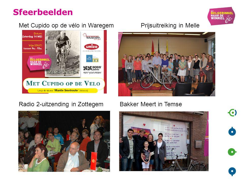 Sfeerbeelden Met Cupido op de vélo in Waregem Prijsuitreiking in Melle Radio 2-uitzending in Zottegem Bakker Meert in Temse