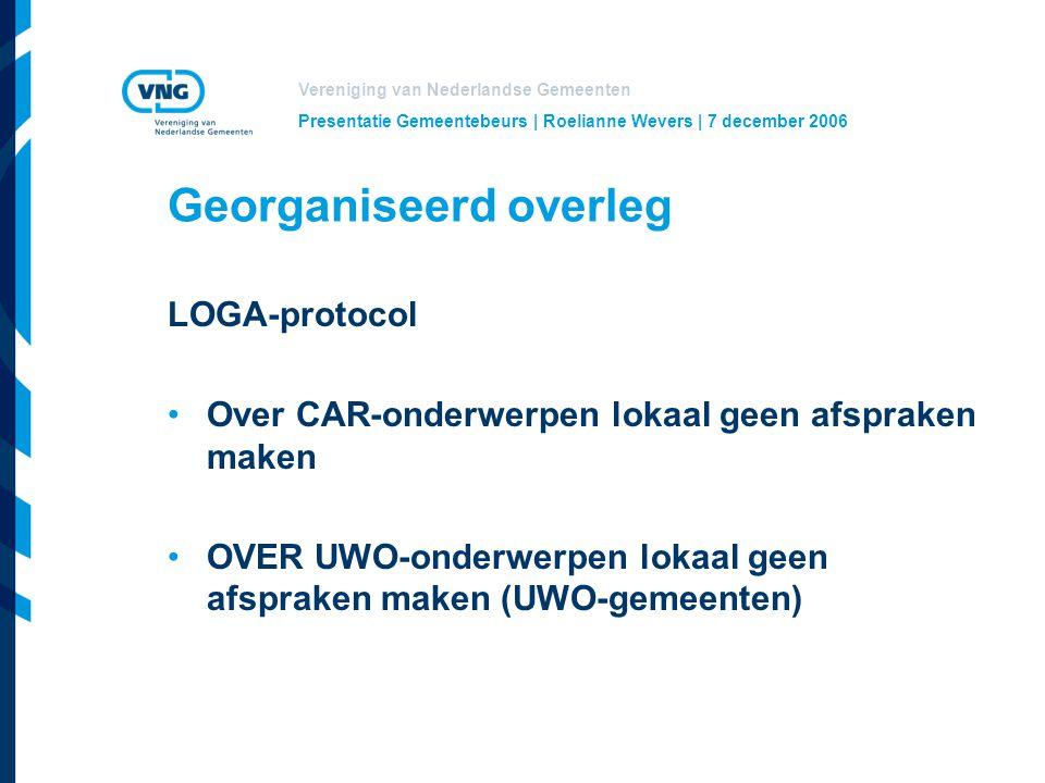 Vereniging van Nederlandse Gemeenten Presentatie Gemeentebeurs | Roelianne Wevers | 7 december 2006 Georganiseerd overleg LOGA-protocol Over CAR-onderwerpen lokaal geen afspraken maken OVER UWO-onderwerpen lokaal geen afspraken maken (UWO-gemeenten)