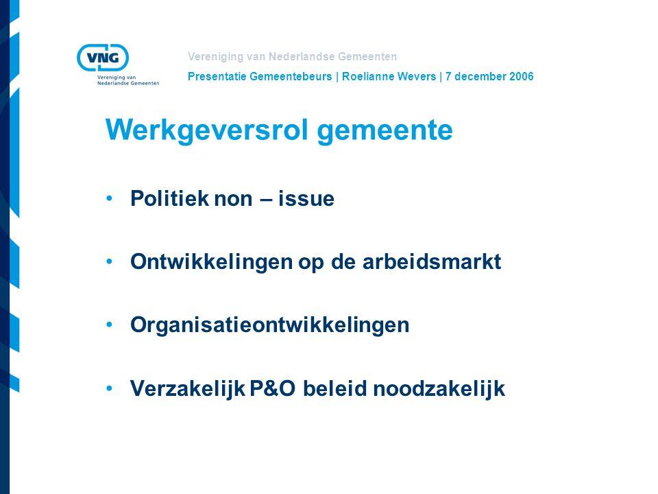 Vereniging van Nederlandse Gemeenten Presentatie Gemeentebeurs | Roelianne Wevers | 7 december 2006 Werkgeversrol gemeente Politiek non – issue Ontwikkelingen op de arbeidsmarkt Organisatieontwikkelingen Verzakelijk P&O beleid noodzakelijk