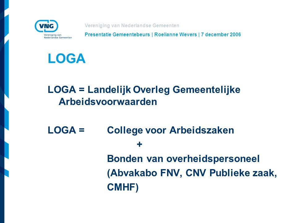 Vereniging van Nederlandse Gemeenten Presentatie Gemeentebeurs | Roelianne Wevers | 7 december 2006 LOGA LOGA = Landelijk Overleg Gemeentelijke Arbeidsvoorwaarden LOGA = College voor Arbeidszaken + Bonden van overheidspersoneel (Abvakabo FNV, CNV Publieke zaak, CMHF)