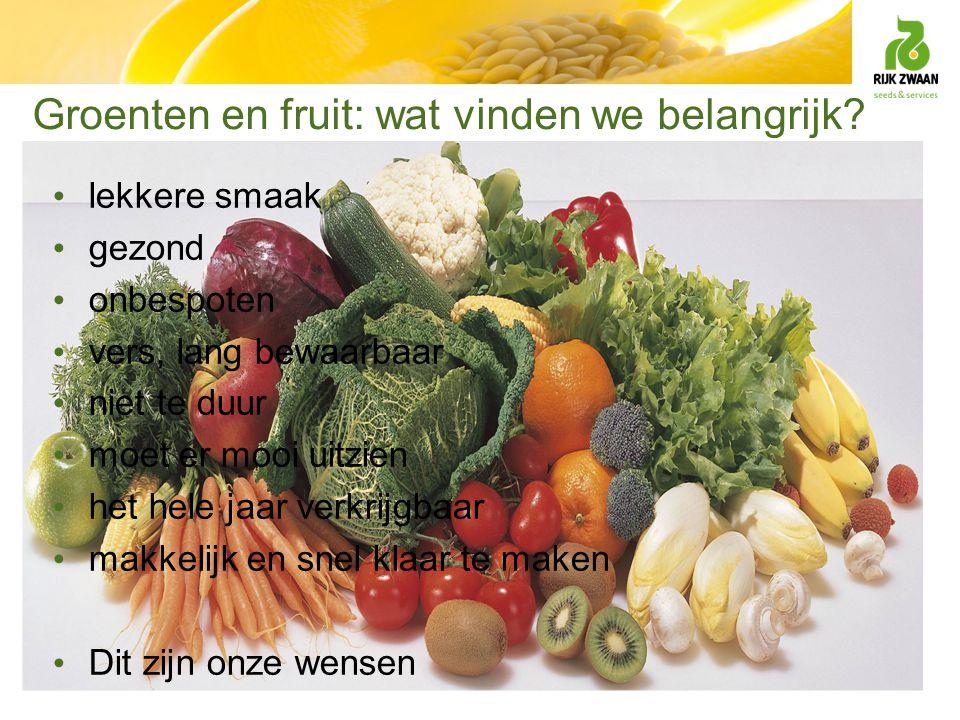 Groenten en fruit: wat vinden we belangrijk? lekkere smaak gezond onbespoten vers, lang bewaarbaar niet te duur moet er mooi uitzien het hele jaar ver