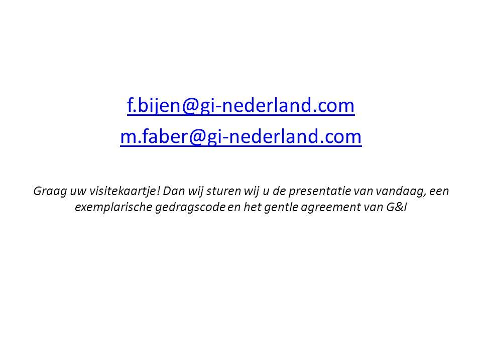 f.bijen@gi-nederland.com m.faber@gi-nederland.com Graag uw visitekaartje! Dan wij sturen wij u de presentatie van vandaag, een exemplarische gedragsco