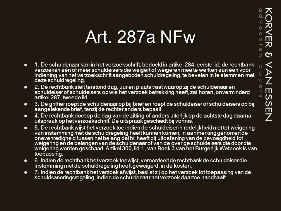 Art. 287a NFw 1. De schuldenaar kan in het verzoekschrift, bedoeld in artikel 284, eerste lid, de rechtbank verzoeken één of meer schuldeisers die wei