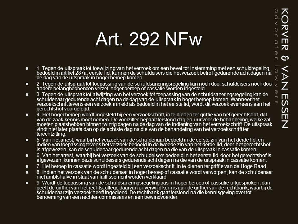 Art. 292 NFw 1. Tegen de uitspraak tot toewijzing van het verzoek om een bevel tot instemming met een schuldregeling, bedoeld in artikel 287a, eerste