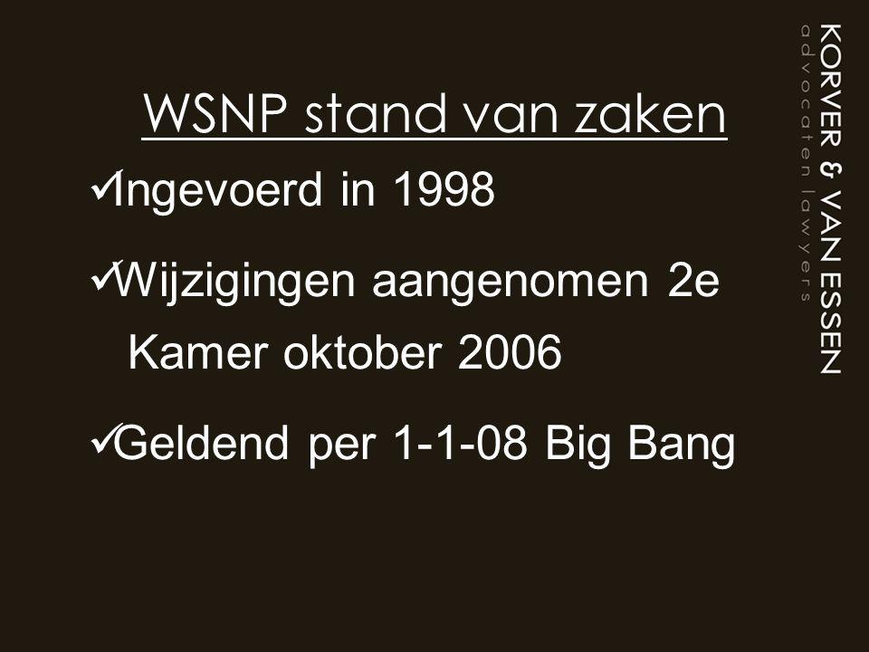 WSNP stand van zaken Ingevoerd in 1998 Wijzigingen aangenomen 2e Kamer oktober 2006 Geldend per 1-1-08 Big Bang