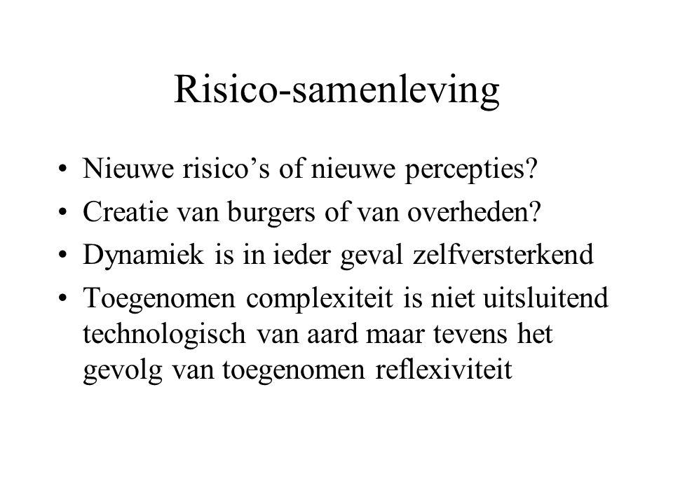 Risico-samenleving Nieuwe risico's of nieuwe percepties? Creatie van burgers of van overheden? Dynamiek is in ieder geval zelfversterkend Toegenomen c