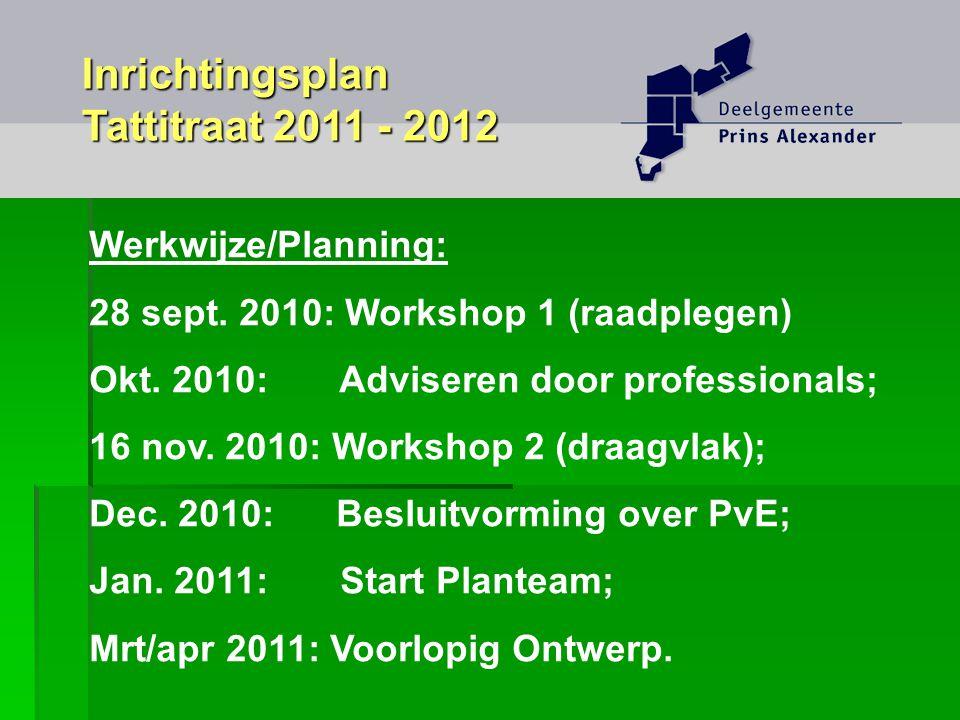 Werkwijze/Planning: 28 sept. 2010: Workshop 1 (raadplegen) Okt. 2010: Adviseren door professionals; 16 nov. 2010: Workshop 2 (draagvlak); Dec. 2010: B