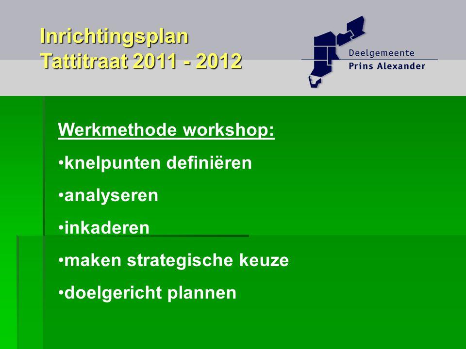 Werkmethode workshop: knelpunten definiëren analyseren inkaderen maken strategische keuze doelgericht plannen Inrichtingsplan Tattitraat 2011 - 2012