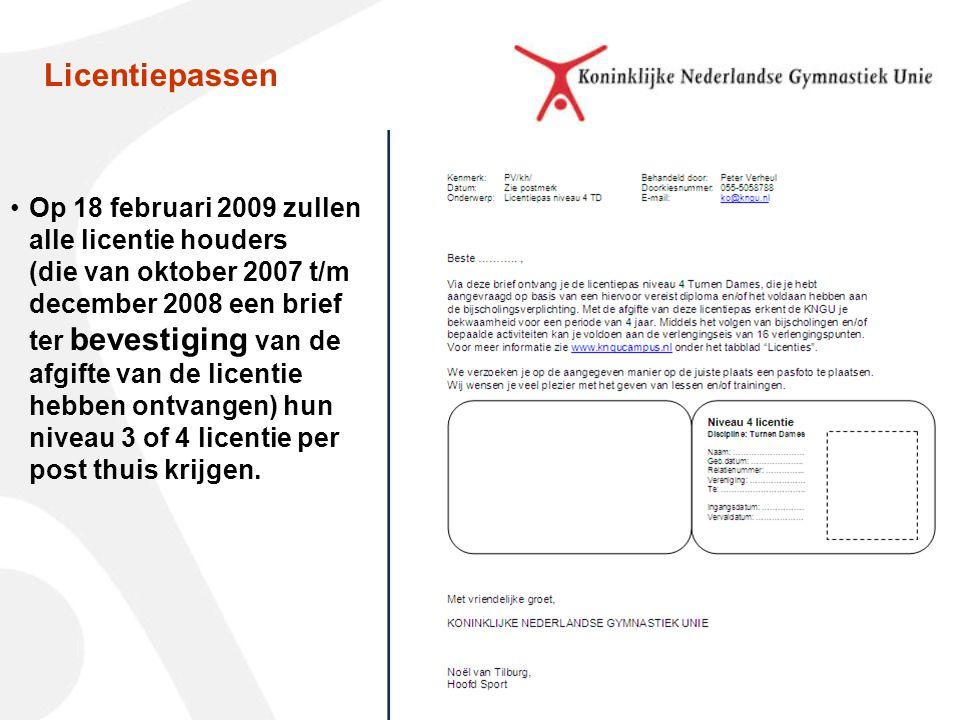 Op 18 februari 2009 zullen alle licentie houders (die van oktober 2007 t/m december 2008 een brief ter bevestiging van de afgifte van de licentie hebben ontvangen) hun niveau 3 of 4 licentie per post thuis krijgen.