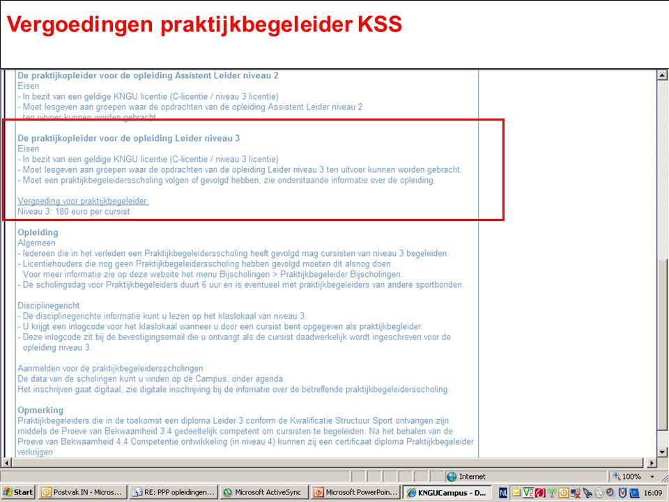 Vergoedingen praktijkbegeleider KSS