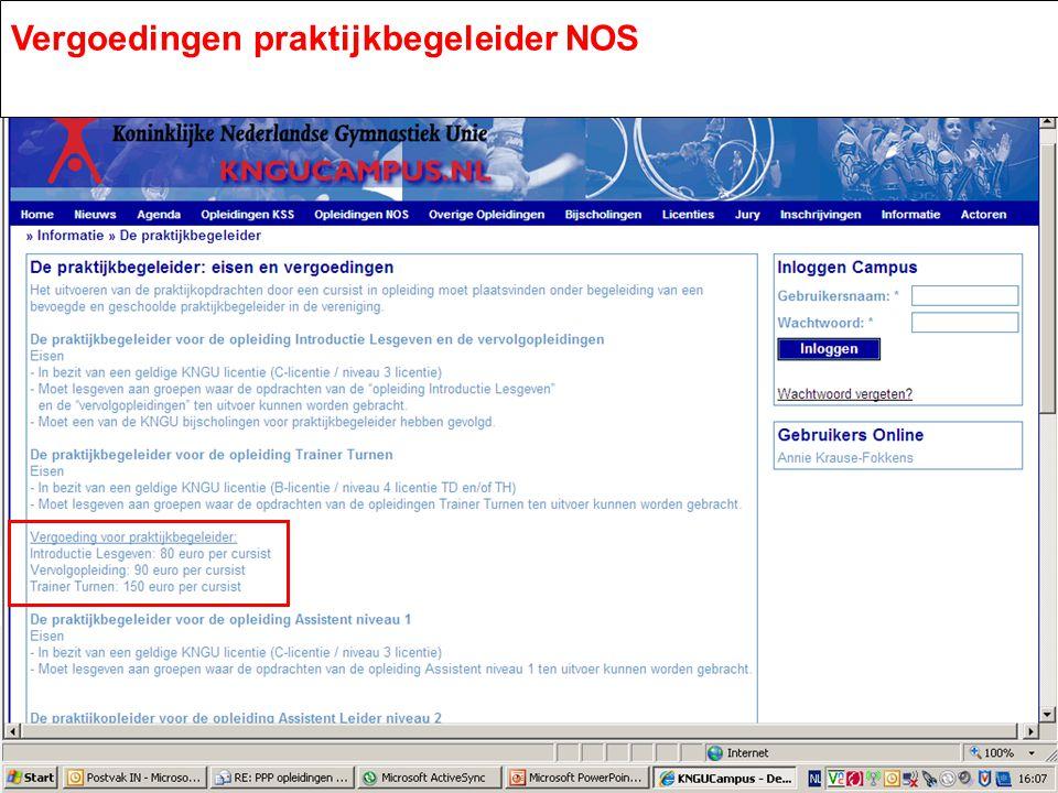 De praktijkbegeleider: eisen en vergoedingen Vergoedingen praktijkbegeleider NOS