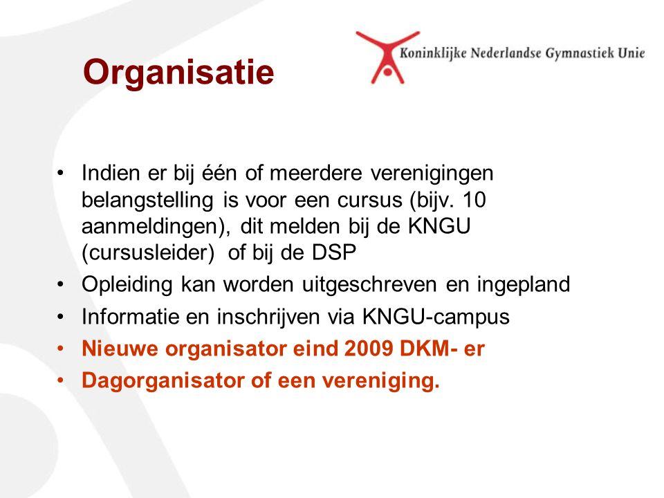 Indien er bij één of meerdere verenigingen belangstelling is voor een cursus (bijv. 10 aanmeldingen), dit melden bij de KNGU (cursusleider) of bij de