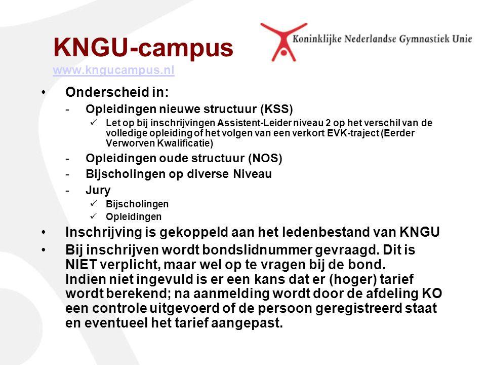 KNGU-campus www.kngucampus.nl www.kngucampus.nl Onderscheid in: -Opleidingen nieuwe structuur (KSS) Let op bij inschrijvingen Assistent-Leider niveau 2 op het verschil van de volledige opleiding of het volgen van een verkort EVK-traject (Eerder Verworven Kwalificatie) -Opleidingen oude structuur (NOS) -Bijscholingen op diverse Niveau -Jury Bijscholingen Opleidingen Inschrijving is gekoppeld aan het ledenbestand van KNGU Bij inschrijven wordt bondslidnummer gevraagd.