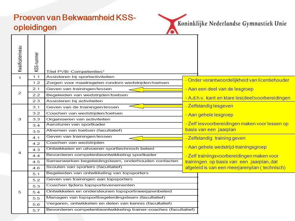 Proeven van Bekwaamheid KSS- opleidingen - Onder verantwoordelijkheid van licentiehouder - Aan een deel van de lesgroep - A.d.h.v.