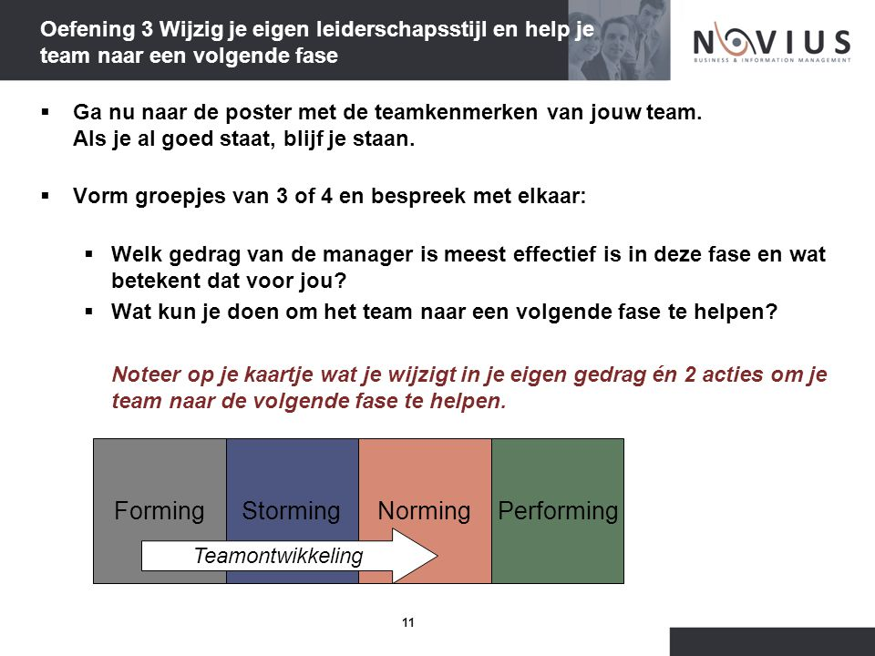 11 Oefening 3 Wijzig je eigen leiderschapsstijl en help je team naar een volgende fase  Ga nu naar de poster met de teamkenmerken van jouw team.