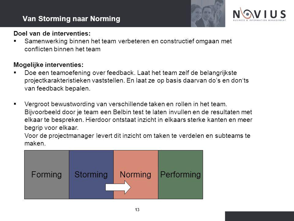 13 Van Storming naar Norming Doel van de interventies:  Samenwerking binnen het team verbeteren en constructief omgaan met conflicten binnen het team Mogelijke interventies:  Doe een teamoefening over feedback.