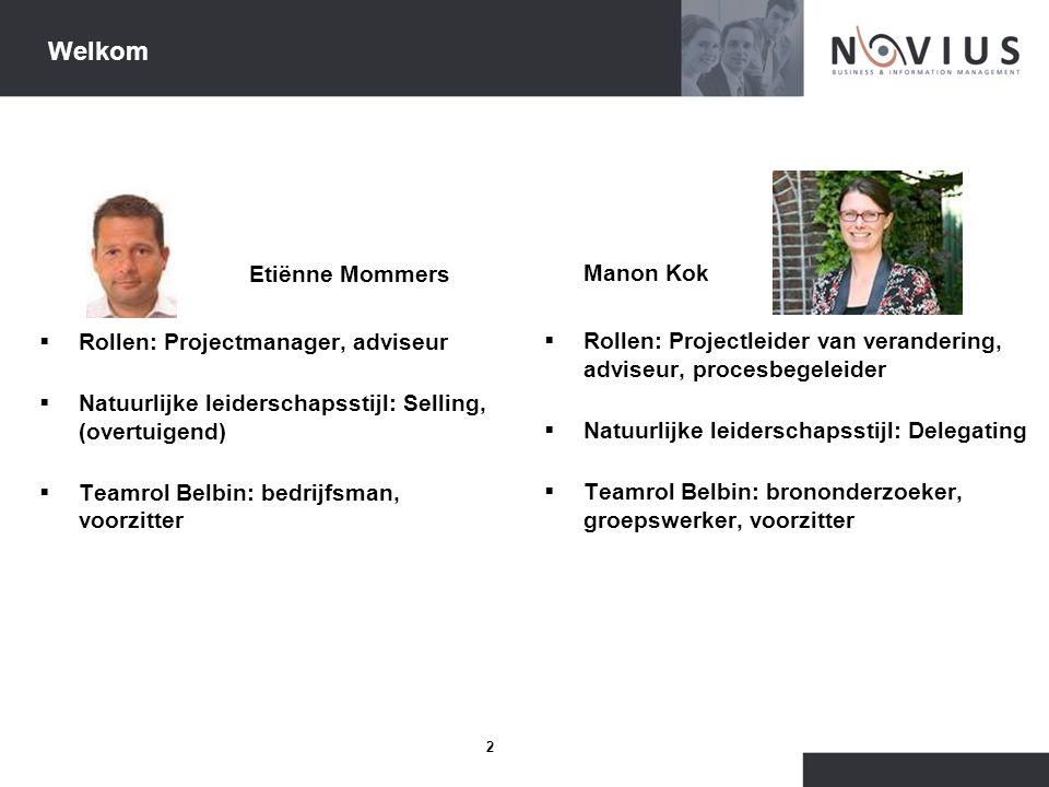 2 Welkom Etiënne Mommers  Rollen: Projectmanager, adviseur  Natuurlijke leiderschapsstijl: Selling, (overtuigend)  Teamrol Belbin: bedrijfsman, voo