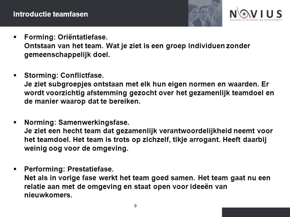 9 Introductie teamfasen  Forming: Oriëntatiefase. Ontstaan van het team. Wat je ziet is een groep individuen zonder gemeenschappelijk doel.  Stormin
