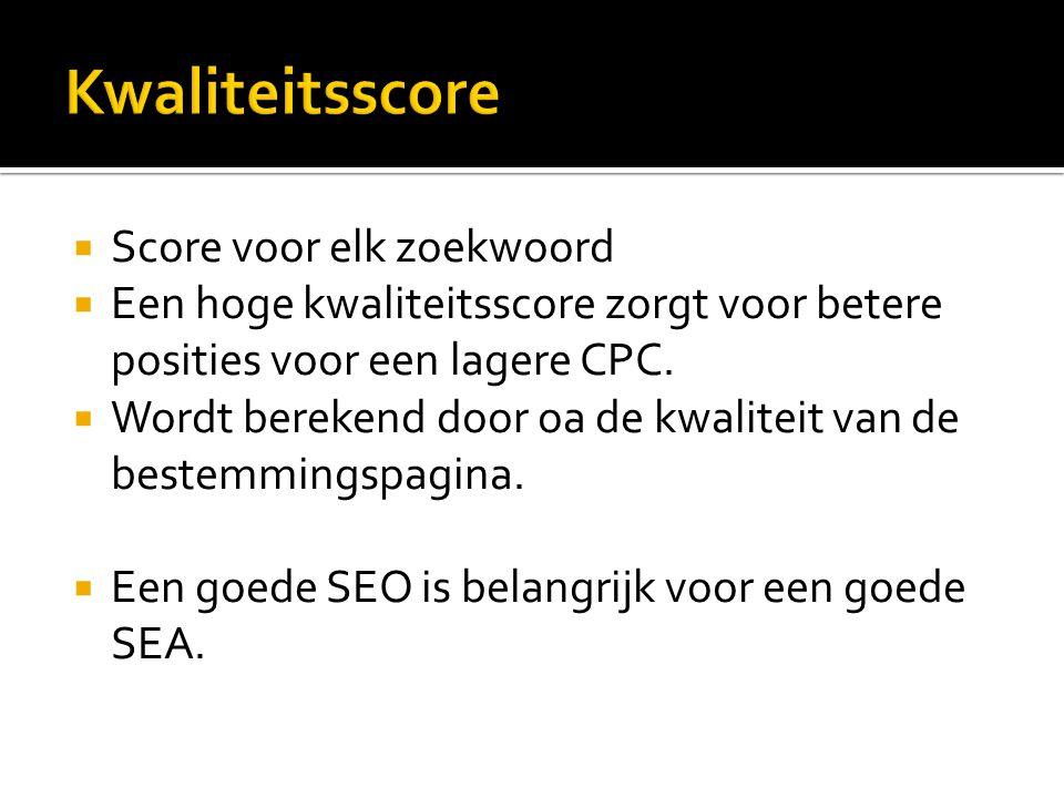 Score voor elk zoekwoord  Een hoge kwaliteitsscore zorgt voor betere posities voor een lagere CPC.