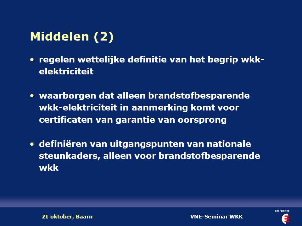 VNE-Seminar WKK21 oktober, Baarn Middelen (2) regelen wettelijke definitie van het begrip wkk- elektriciteit waarborgen dat alleen brandstofbesparende