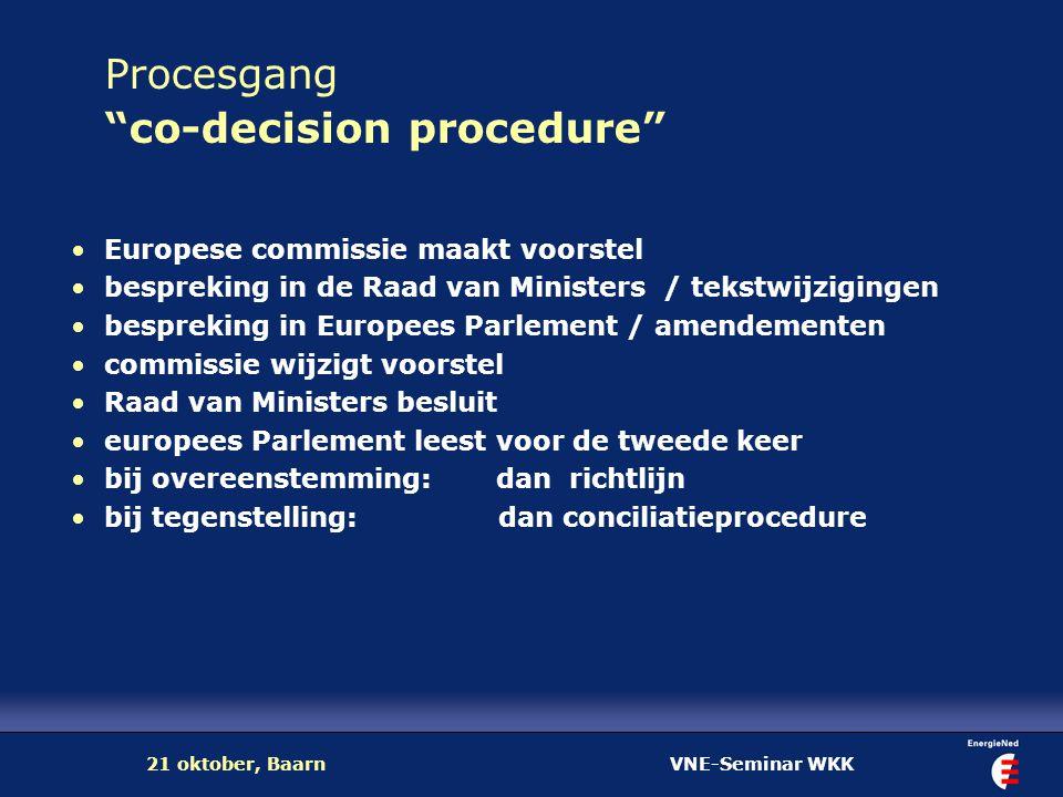 """VNE-Seminar WKK21 oktober, Baarn Procesgang """"co-decision procedure"""" Europese commissie maakt voorstel bespreking in de Raad van Ministers / tekstwijzi"""