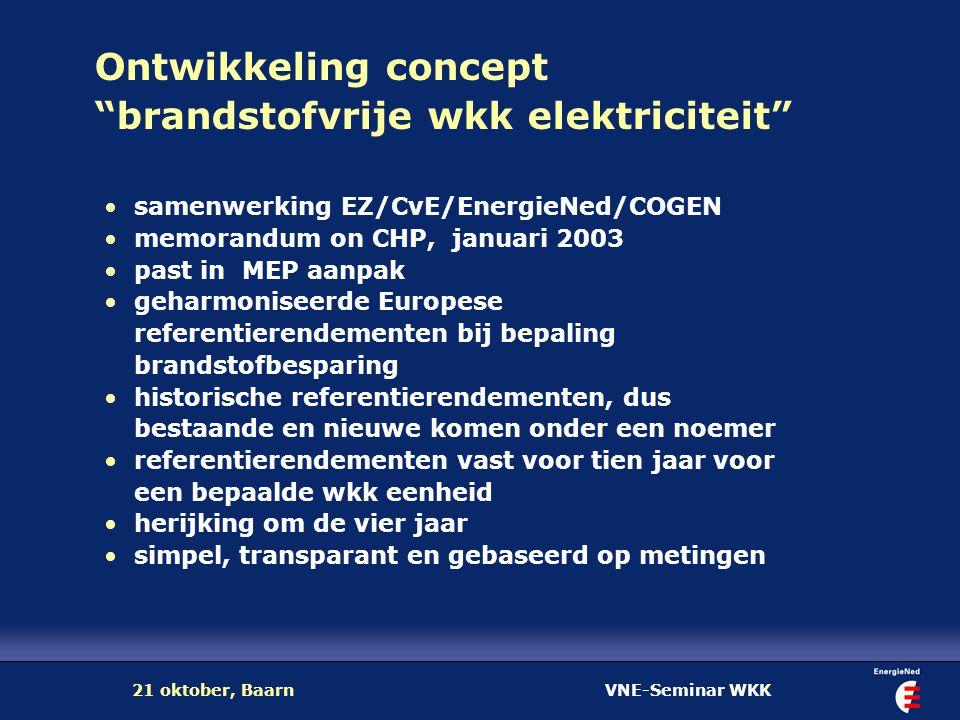 "VNE-Seminar WKK21 oktober, Baarn Ontwikkeling concept ""brandstofvrije wkk elektriciteit"" samenwerking EZ/CvE/EnergieNed/COGEN memorandum on CHP, janua"