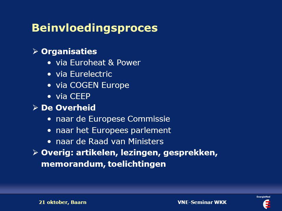 VNE-Seminar WKK21 oktober, Baarn Beinvloedingsproces  Organisaties via Euroheat & Power via Eurelectric via COGEN Europe via CEEP  De Overheid naar