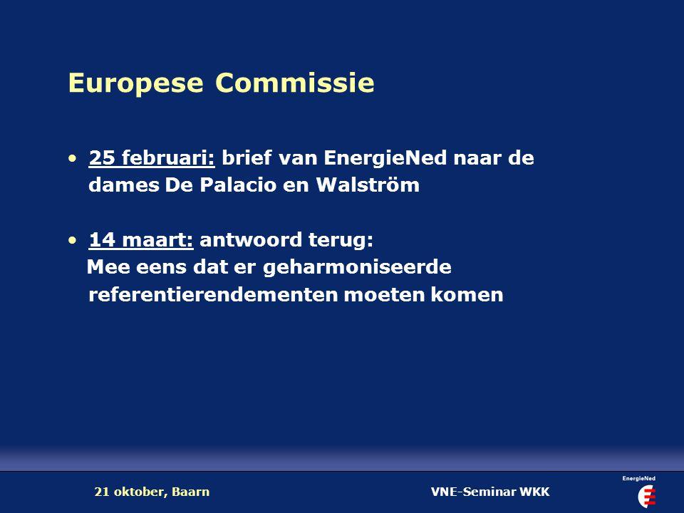 VNE-Seminar WKK21 oktober, Baarn Europese Commissie 25 februari: brief van EnergieNed naar de dames De Palacio en Walström 14 maart: antwoord terug: M