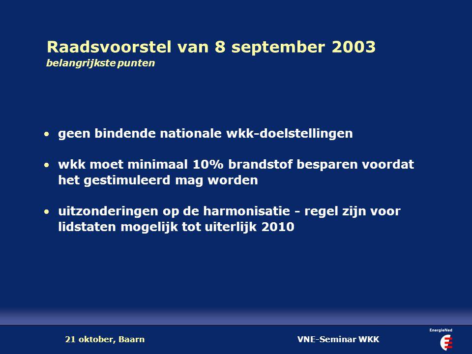 VNE-Seminar WKK21 oktober, Baarn Raadsvoorstel van 8 september 2003 belangrijkste punten geen bindende nationale wkk-doelstellingen wkk moet minimaal