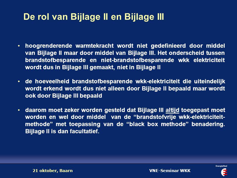 VNE-Seminar WKK21 oktober, Baarn De rol van Bijlage II en Bijlage III hoogrenderende warmtekracht wordt niet gedefinieerd door middel van Bijlage II m
