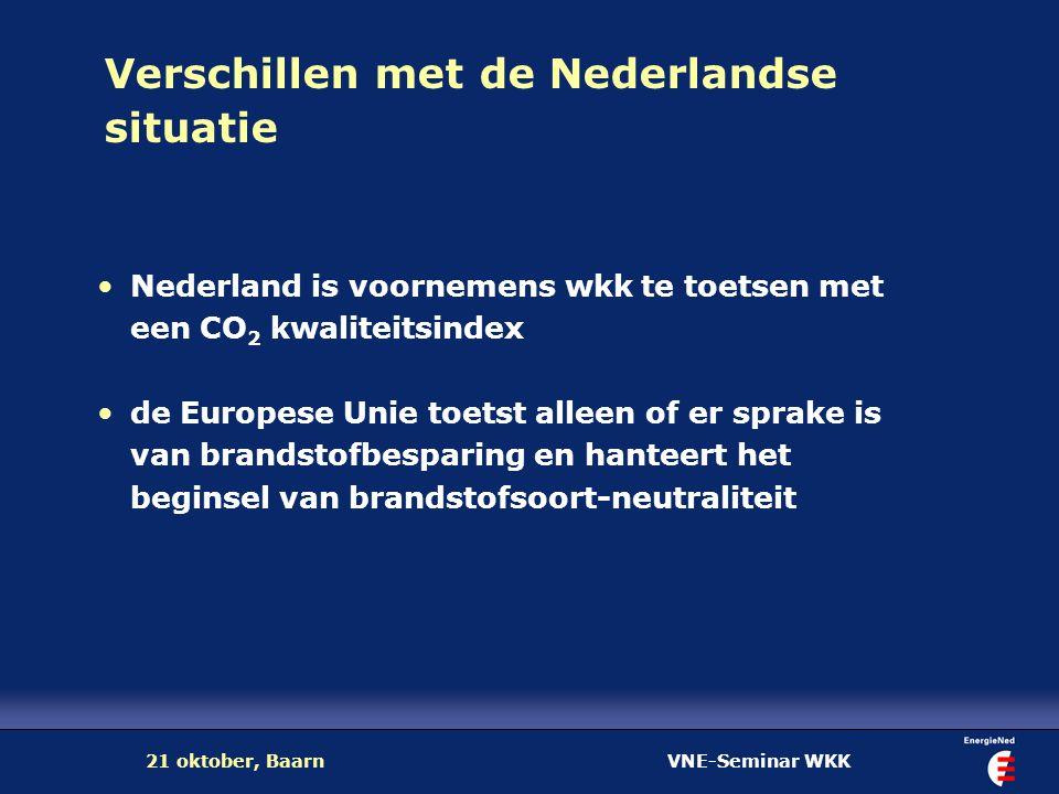 VNE-Seminar WKK21 oktober, Baarn Verschillen met de Nederlandse situatie Nederland is voornemens wkk te toetsen met een CO 2 kwaliteitsindex de Europe
