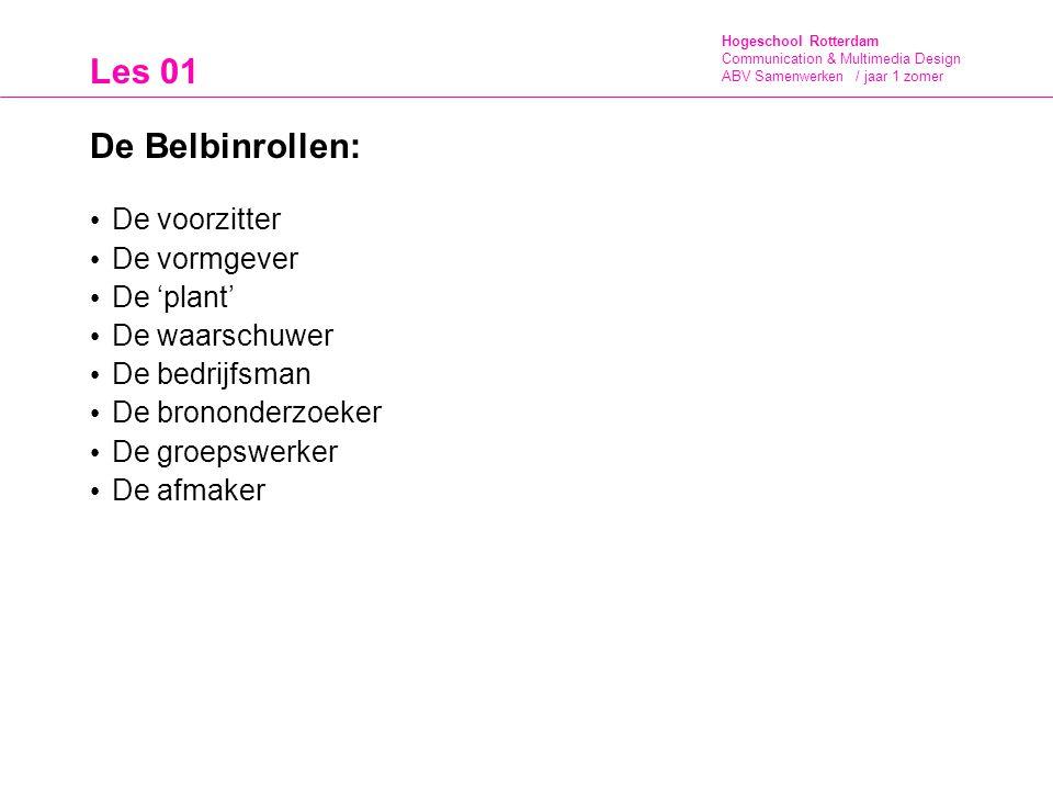 Hogeschool Rotterdam Communication & Multimedia Design ABV Samenwerken / jaar 1 zomer Les 01 De Belbinrollen: De voorzitter De vormgever De 'plant' De waarschuwer De bedrijfsman De brononderzoeker De groepswerker De afmaker