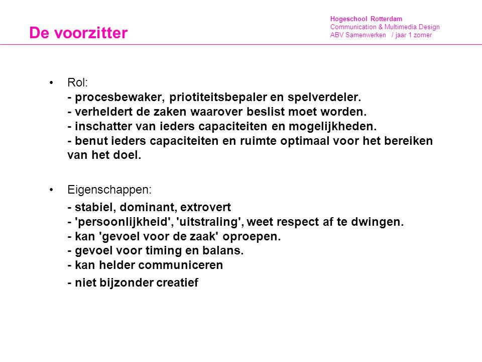 Hogeschool Rotterdam Communication & Multimedia Design ABV Samenwerken / jaar 1 zomer De voorzitter Rol: - procesbewaker, priotiteitsbepaler en spelve
