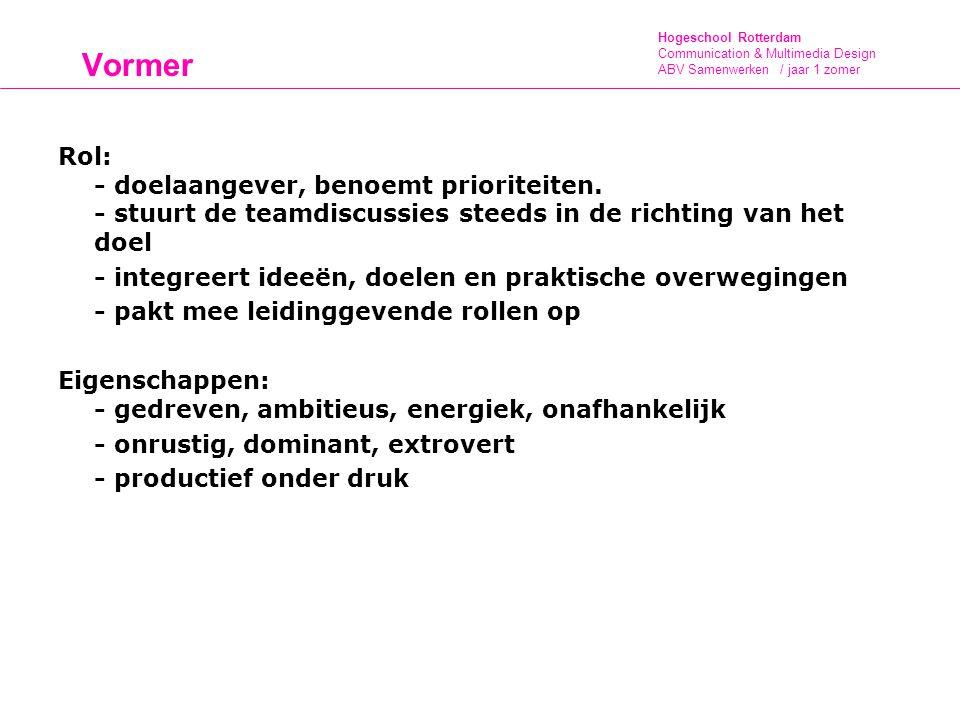 Hogeschool Rotterdam Communication & Multimedia Design ABV Samenwerken / jaar 1 zomer Vormer Rol: - doelaangever, benoemt prioriteiten. - stuurt de te
