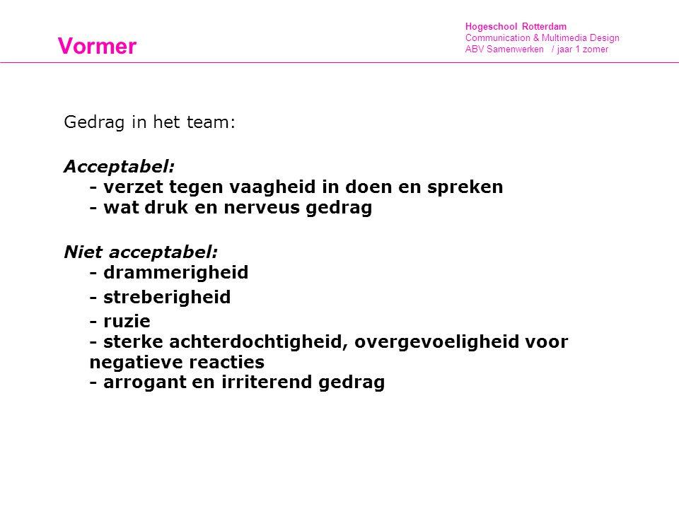 Hogeschool Rotterdam Communication & Multimedia Design ABV Samenwerken / jaar 1 zomer Vormer Gedrag in het team: Acceptabel: - verzet tegen vaagheid i
